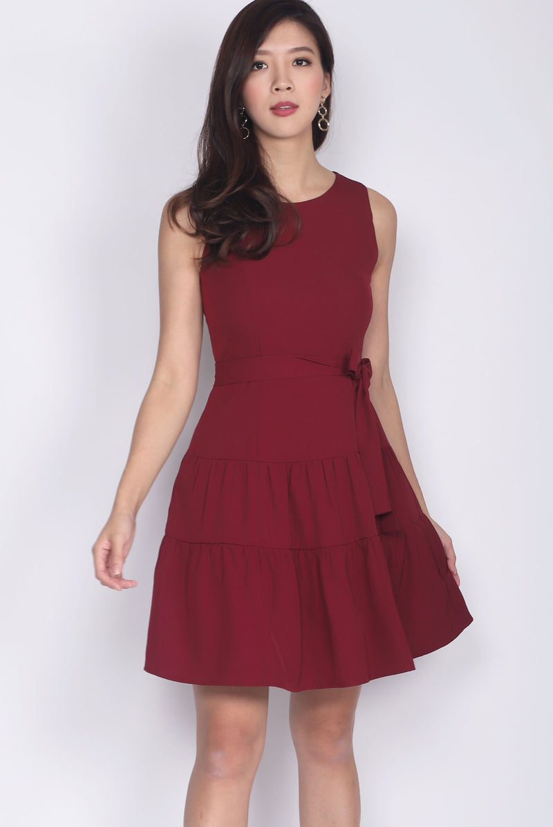 Estrella Tier Fit Flare Dress In Wine Red