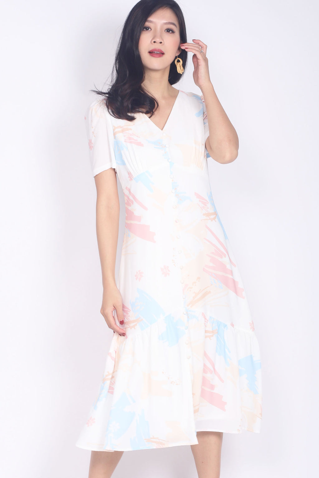 *BACKORDER* Eudora Abstract Buttons Slit Maxi Dress In Pastel