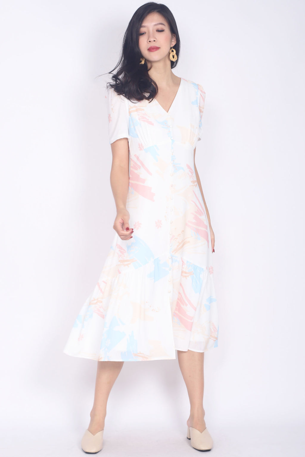*Restock* Eudora Abstract Buttons Slit Maxi Dress In Pastel
