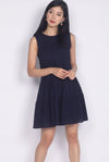 Euna Eyelet Tiered Dress In Navy Blue