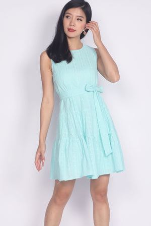 Euna Eyelet Tiered Dress In Tiffany