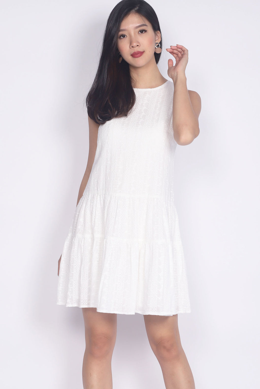 Euna Eyelet Tiered Dress In White