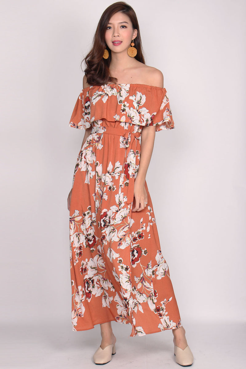 Evadne Floral Off Shoulder Maxi Dress In Sun Baked