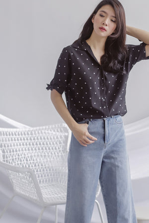 Eve Tie Sleeve Polkadot Shirt In Black