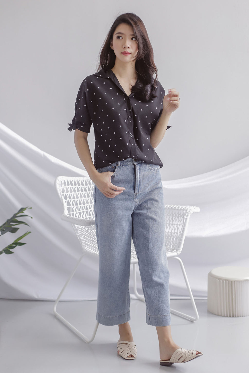 Batty Denim Culottes In Light Wash