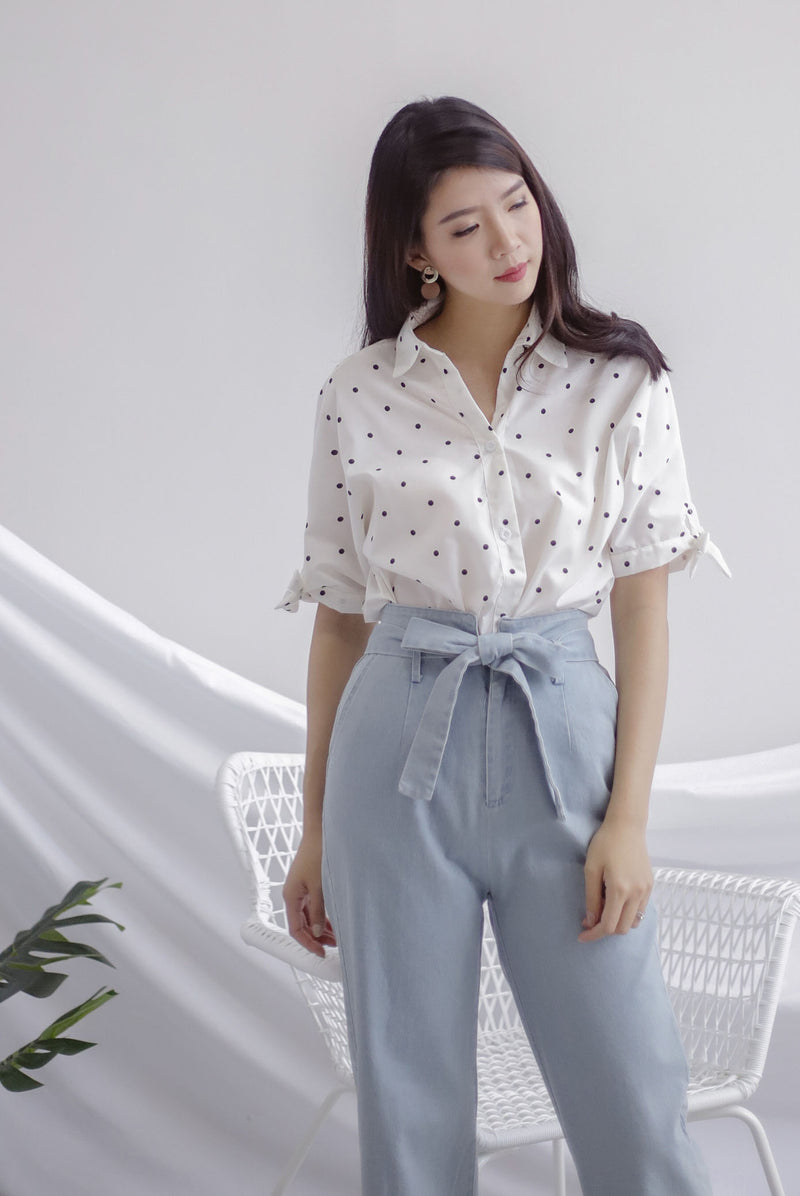 *Restocked* Eve Tie Sleeve Polkadot Shirt In White