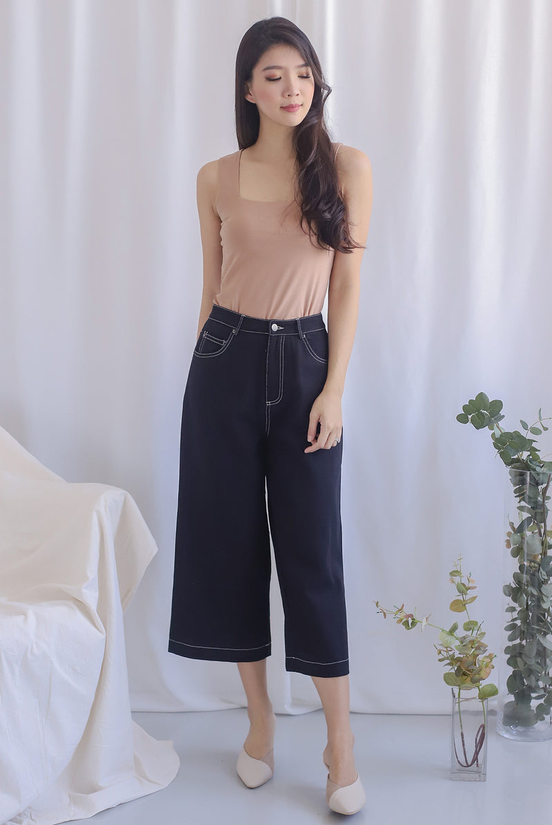 Everetti Denim Culottes In Black