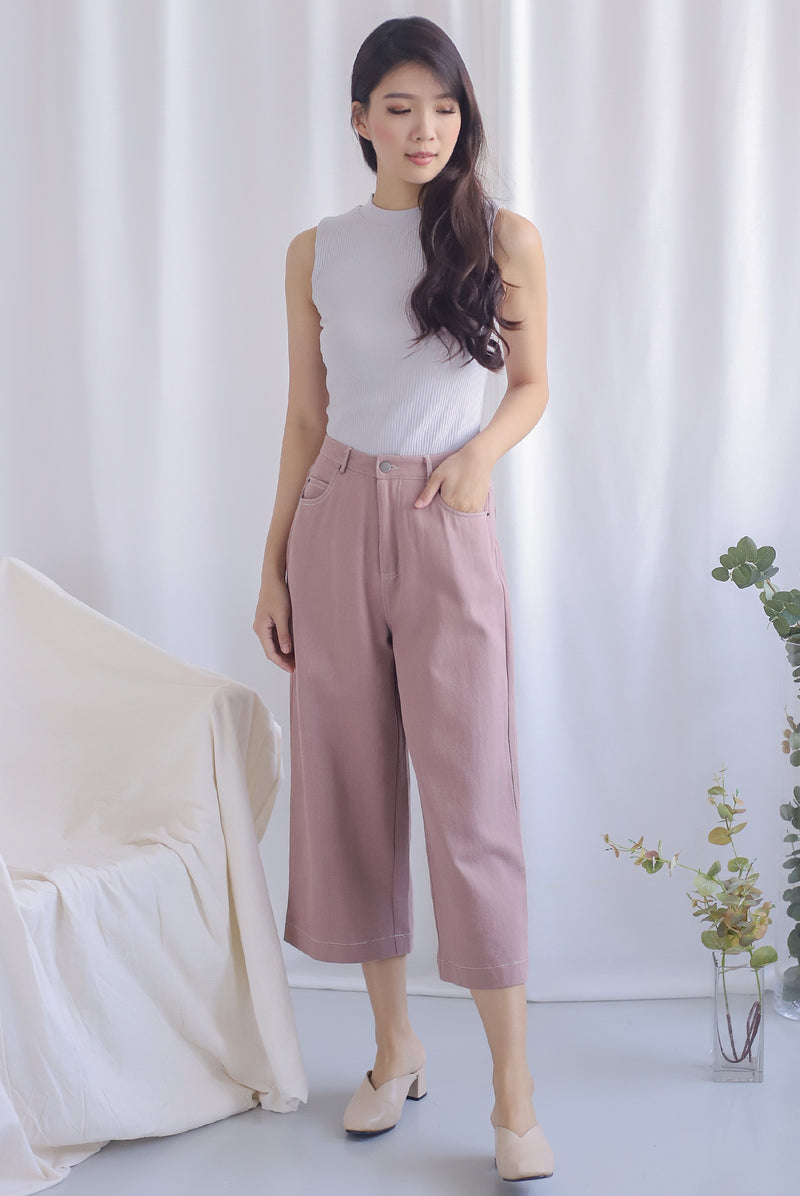 Everetti Denim Culottes In Pink