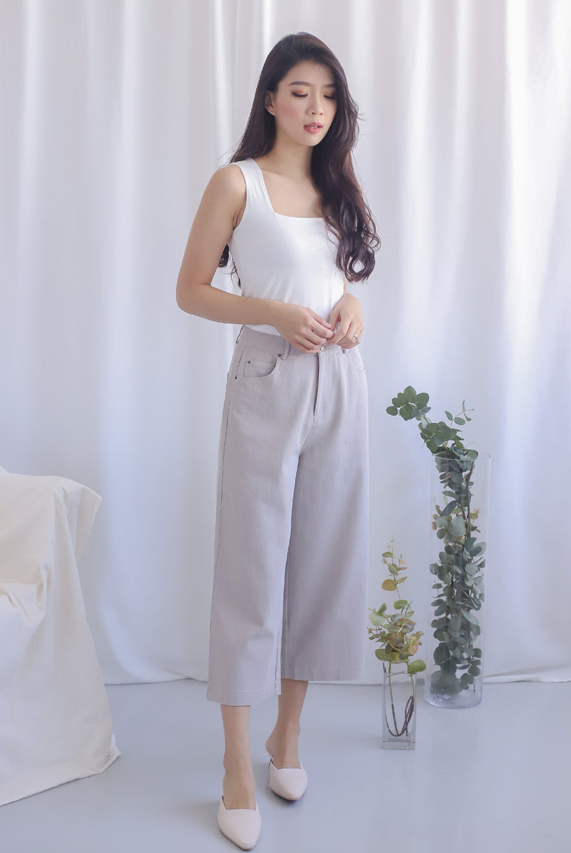 Everetti Denim Culottes In Taupe