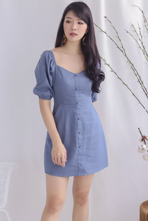 Everli Buttons Puffy Sleeve Romper In Blue