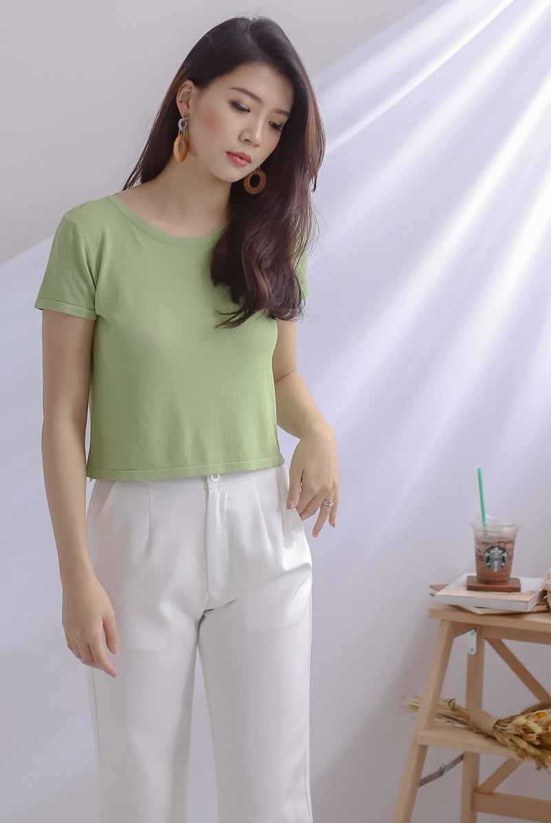 Evey Round Neck Tee In Apple Green
