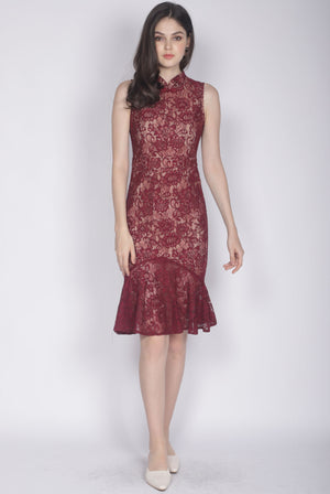 *Premium* Evie Mermaid Removable Oriental Collar Dress In Wine Red