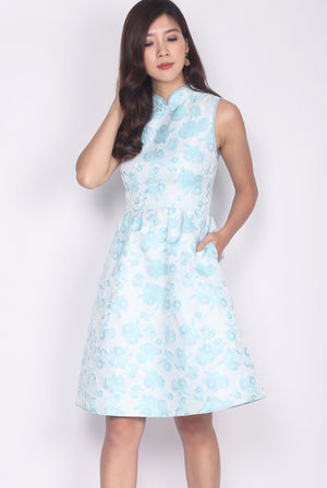 Evolet Floral Oriental Cheong Sam Dress in Skyblue