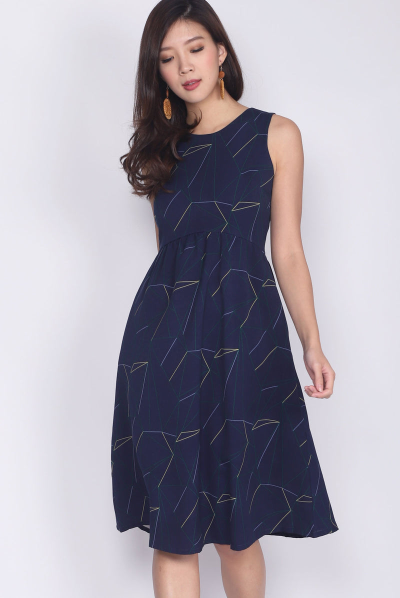 *Restock* Evon Printed Midi Dress In Navy Blue