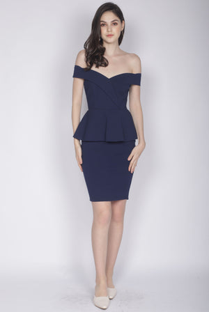 *Premium* Ewelina Off Shoulder Peplum Dress In Navy Blue