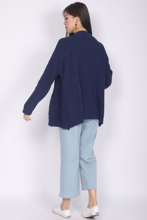 *Restocked* Eyre Knit Cardigan In Navy Blue