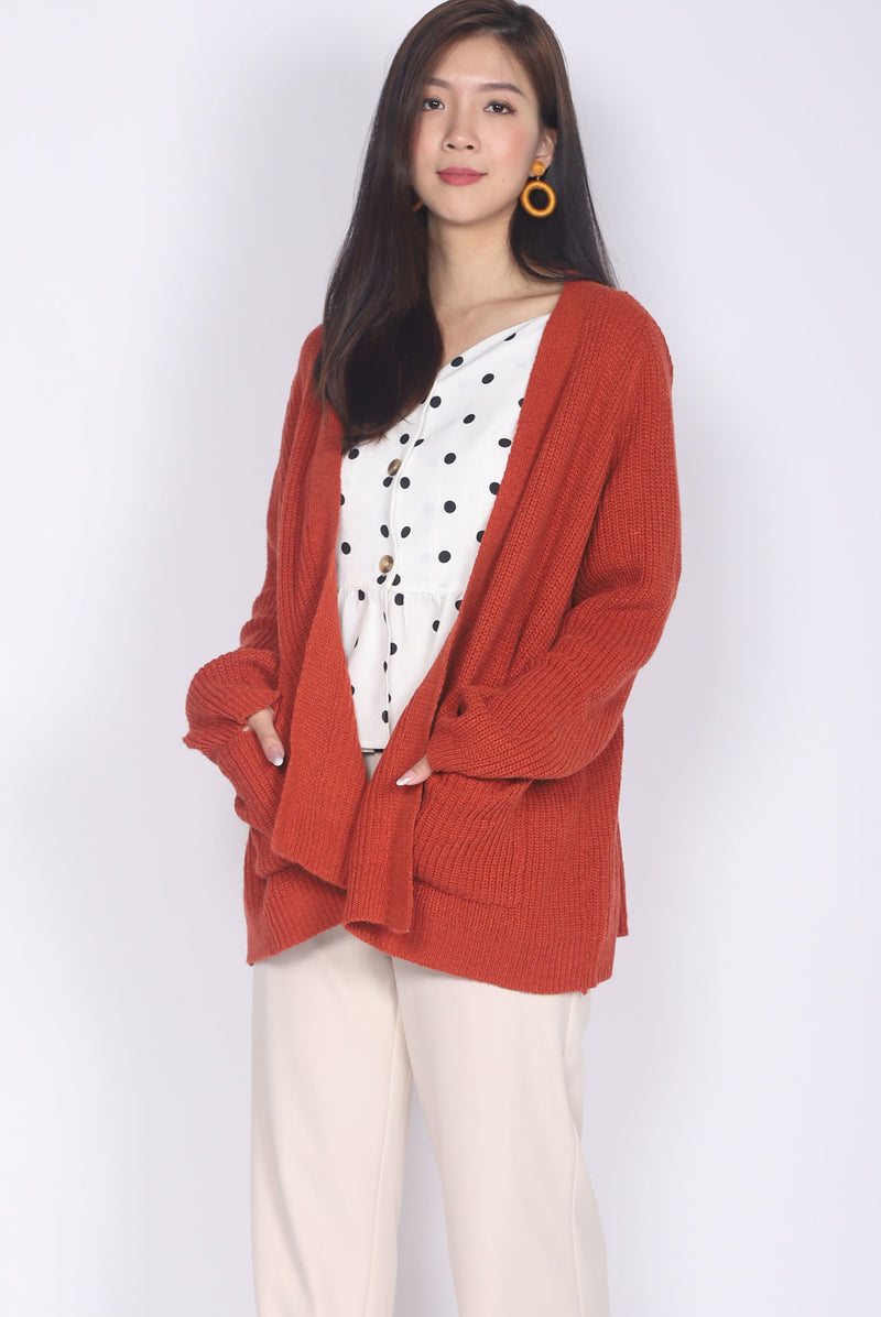 *Restocked* Eyre Knit Cardigan In Rust
