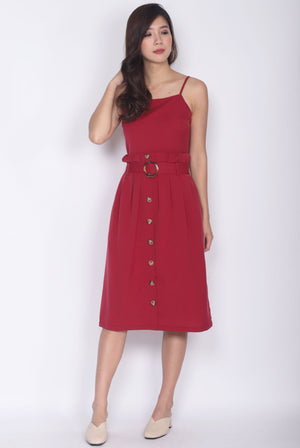 Fairley Buttons Paperbag Belted Dress In Wine Red