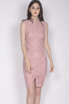 Fairlie Cheongsam Dress In Blush Pink