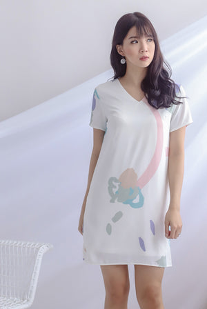 Fairlight Abstract Sleeve Dress In White