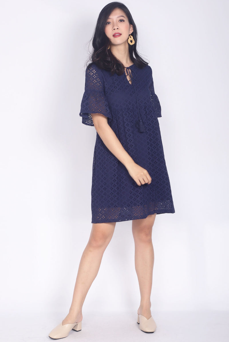Fallon Eyelet Tassel Sleeve Dress In Navy Blue