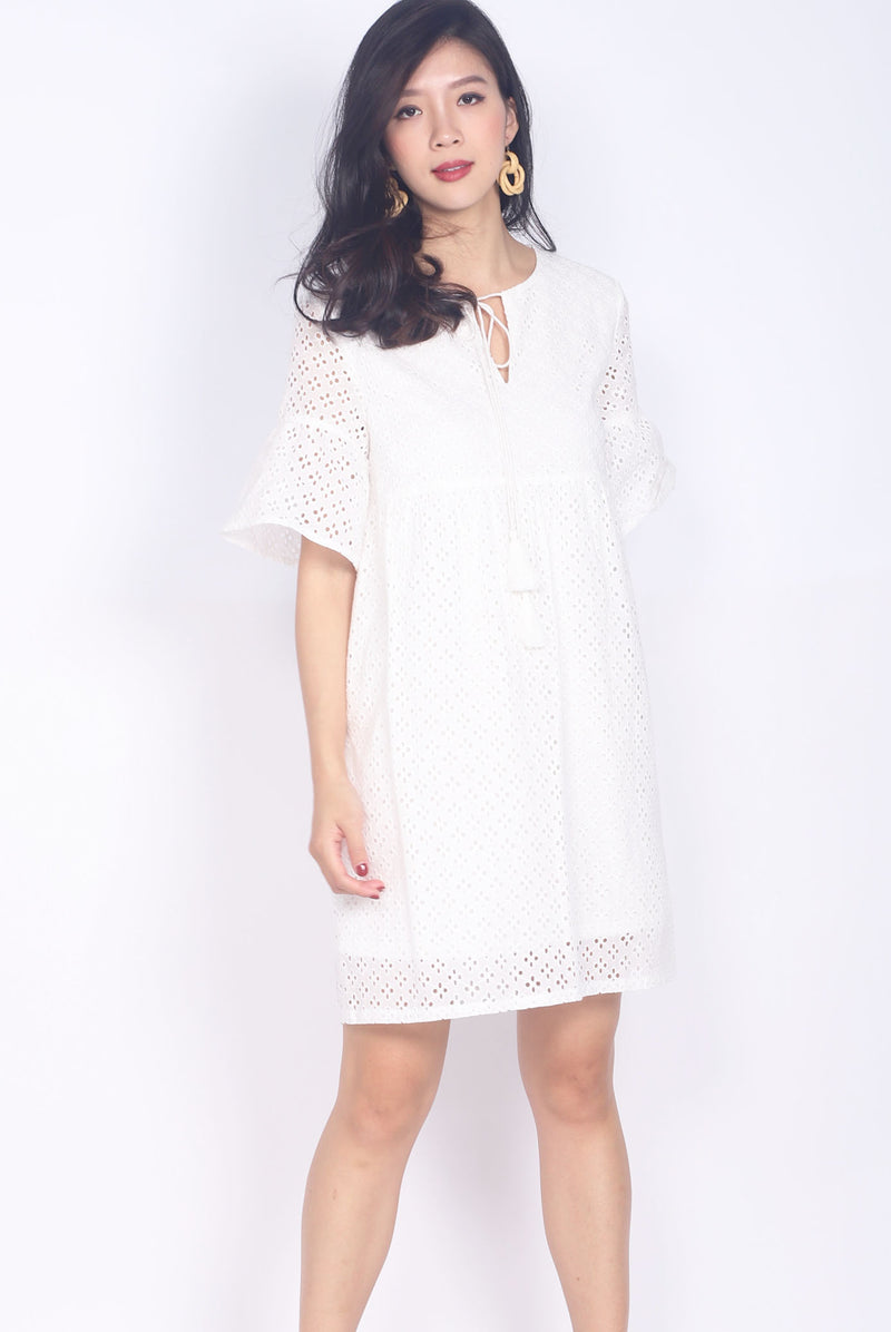 Fallon Eyelet Tassel Sleeve Dress In White
