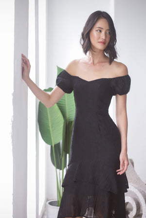 Fannie Embro Off Shoulder Dress In Black