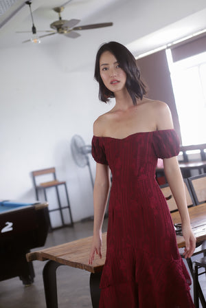 Fannie Embro Off Shoulder Dress In Wine Red