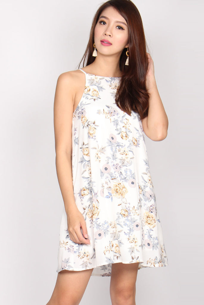 Fanny Trapeze Dress In White Floral