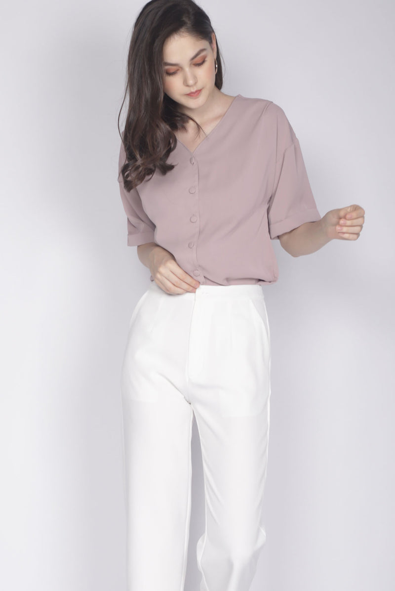 Faustine Buttons Sleeve Top In Mauve