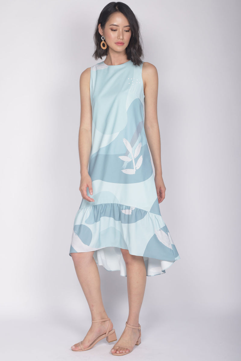 Faye Abstract Removable Oriental Collar Dress In Seafoam