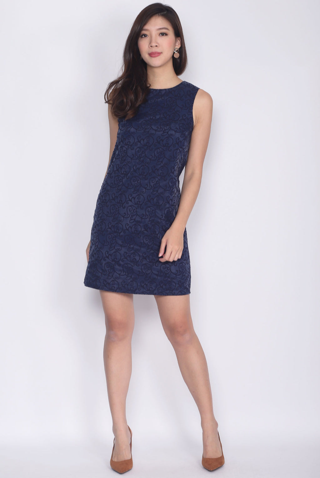 Federica Royal Shift Dress In Navy Blue