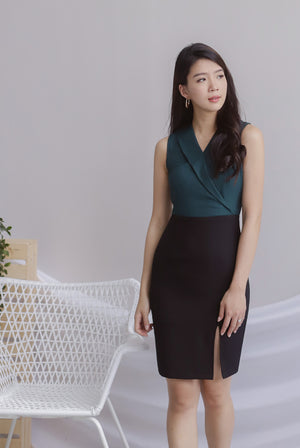 Felecia Colour Block Work Dress In Forest Green