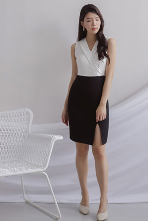 Felecia Colour Block Work Dress In White
