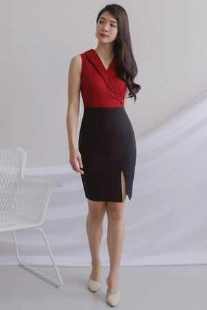 Felecia Colour Block Work Dress In Wine Red