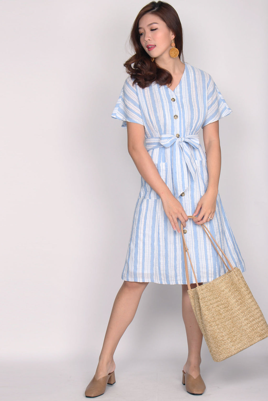 *Restock* Fenella Linen Buttons Dress In Blue Stripes