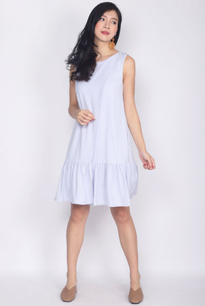 Feorra Overlap Drop Hem Dress In Lilac Grey