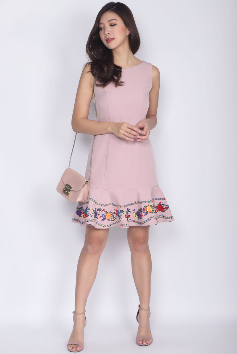 Ferillo Embro Drop Waist Dress In Blush