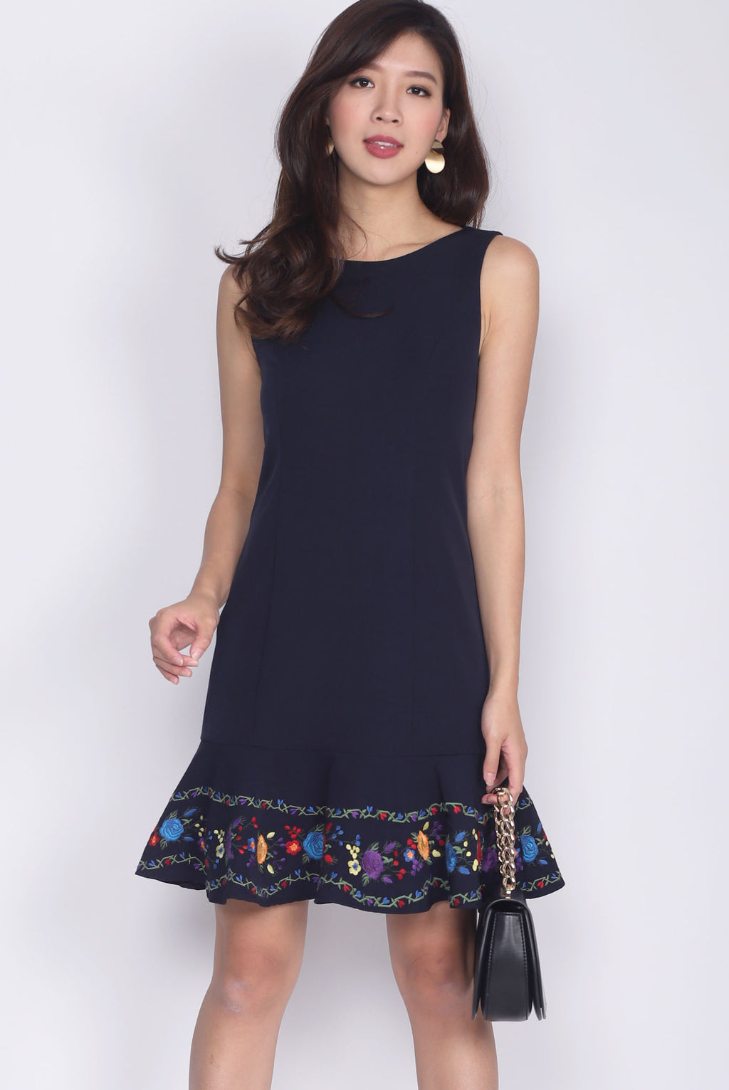 Ferillo Embro Drop Waist Dress In Navy Blue