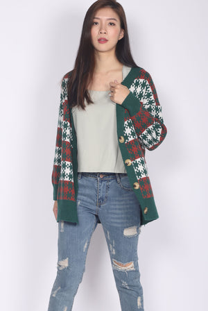 Festive Cardigan In Forest Green