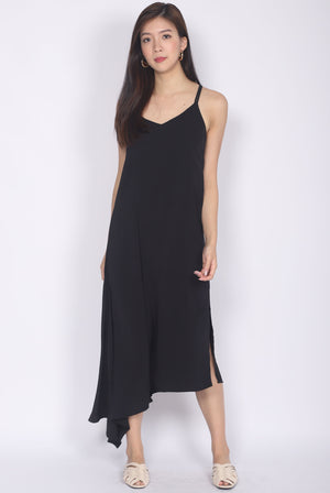 Fflur Cageback Asymm Hem Dress In Black