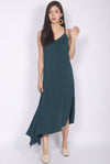 Fflur Cageback Asymm Hem Dress In Forest Green