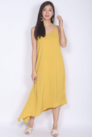 Fflur Cageback Asymm Hem Dress In Mustard
