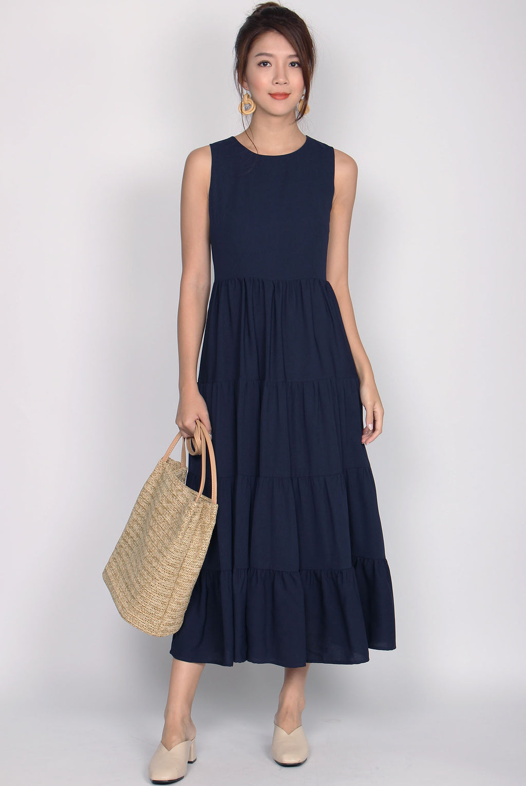 Fidela Tiered Maxi Dress In Navy Blue