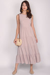Fidela Tiered Maxi Dress In Sand Pink