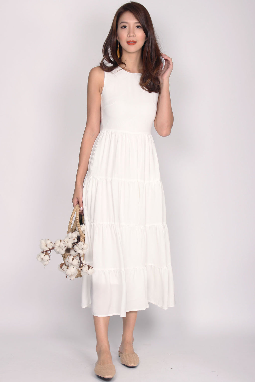 Fidela Tiered Maxi Dress In White