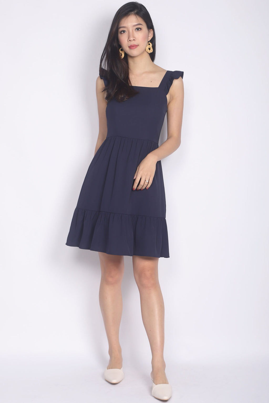 Finleigh Ruffle Strap Tiered Dress In Navy Blue