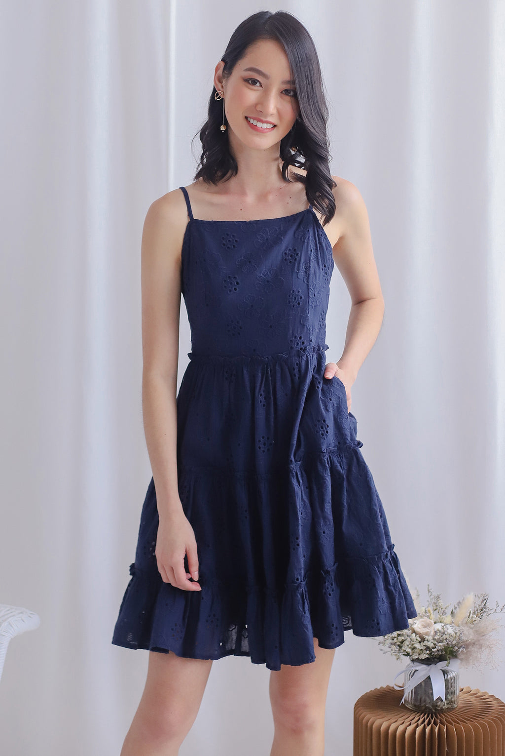 Finn Eyelet Tiered Dress In Navy Blue