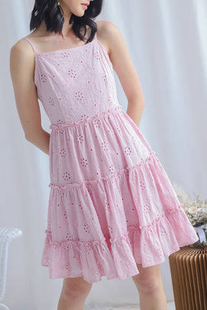 Finn Eyelet Tiered Dress In Pink