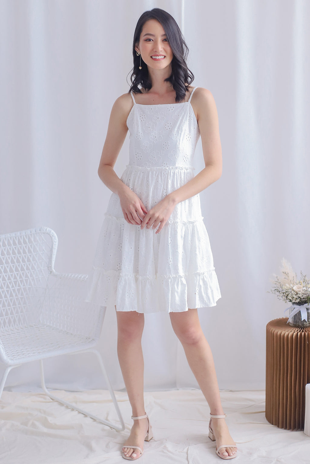 Finn Eyelet Tiered Dress In White